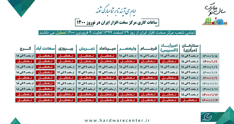 ساعت کاری مرکز در نوروز 1400