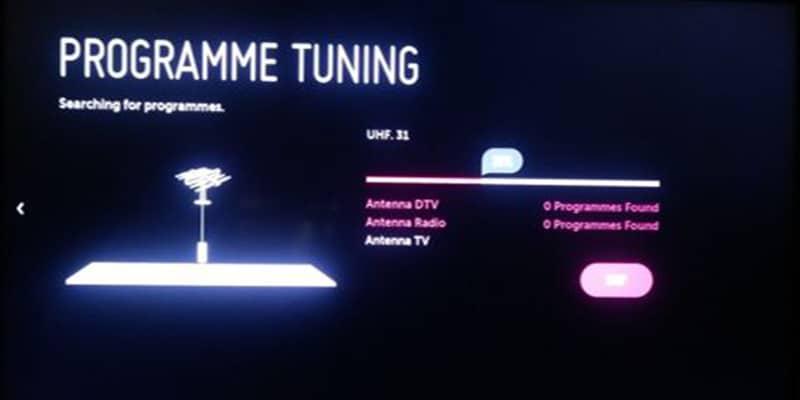 تنظیمات کانال یابی اتوماتیک تلویزیون ال جی