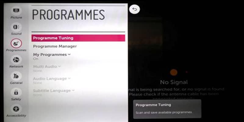 تنظیمات کانال یابی تلویزیون LG